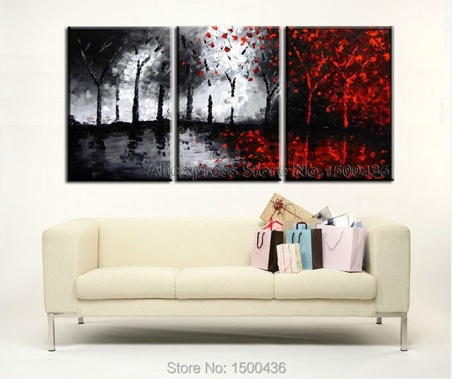 Hand painted tree canvas wall art picture oil painting modern abstract 3 piece black white and
