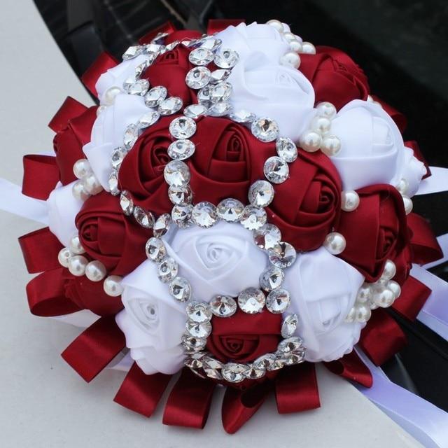 2017 Barato de La Boda/la Dama de honor Ramos de Flores de Cristal de Lujo Burdeos y Blanco Nupcial ramo de la Rosa Artificial Ramo de mariage boda