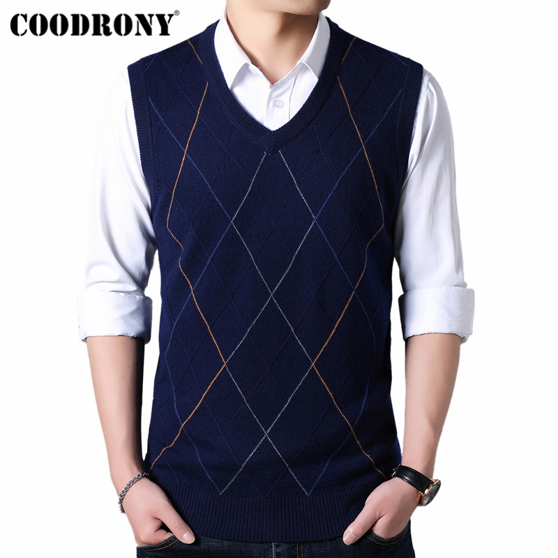 COODRONY Sweater Men Fashion V-Neck Sleeveless Vest Pull Homme 2019 Autumn Winter Thick Warm Cashmere Woolen Mens Sweaters 91024