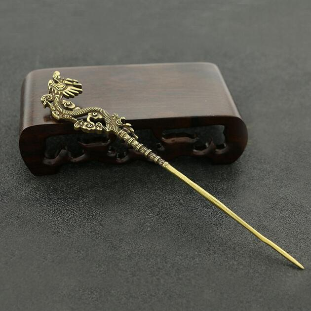 Collection Retro Chinese Brass Carved Animal Zodiac Dragon Hairpin Exquisite Small Statues