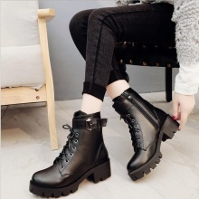 women fashion winter women low heel ankle boots buckle strap leather boot round toe lace-up women shoes female boots black цена 2017