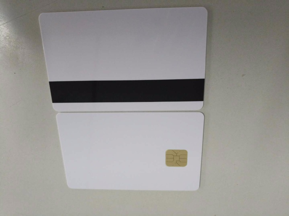 10 pcs/lot White Contact Sle4442 Chip Smart IC Blank PVC Card with 2750 OE Hi-Co Magnetic Stripe