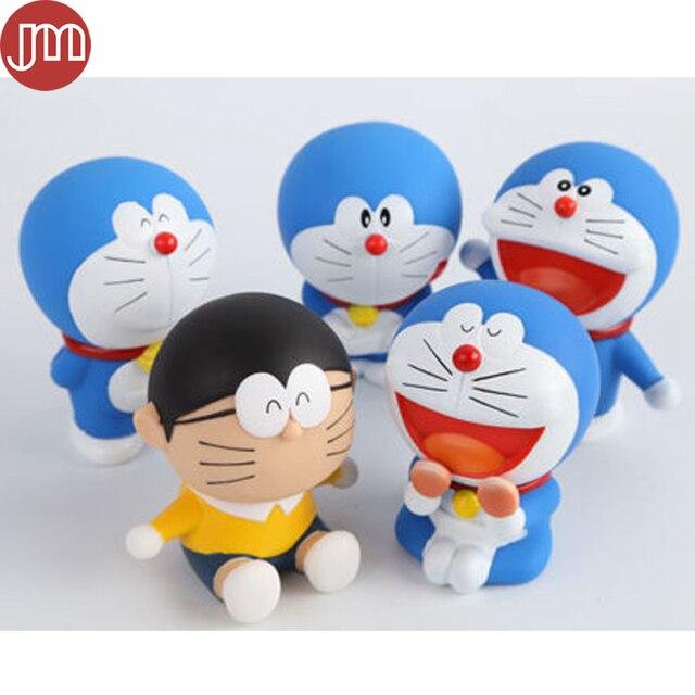 Baru 5 Pcs Jepang Kartun Doraemon Nobi Nobita PVC Boneka Tokoh Anime