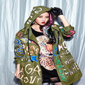 Hot 2017 Spring Women Army Green Trench Coat Casual Harajuku Melinda Punk Style Letters Print Cartoon Eagle Graffiti Jacket