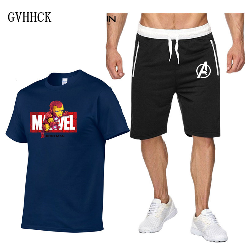 T Shirt Shorts Sets Men Letter Printed Summer Suits Casual Tshirt Marvel 3D Iron Man Tracksuits Brand Clothing Tops Tees Set New