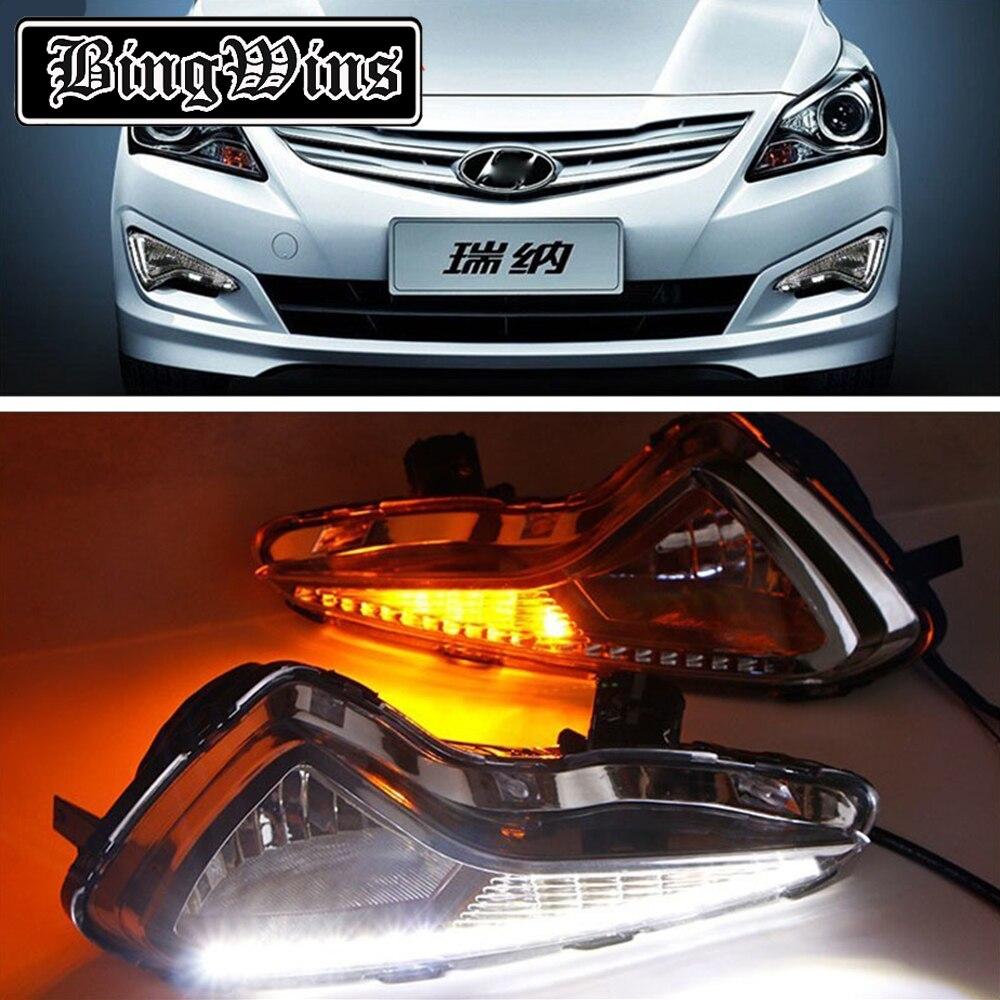 Автомобильный Стайлинг для Hyundai VERNA 2014 2015 светодиодный DRL светодиодный дневные ходовые огни высокая яркость светодиодный DRL с сигналом trun же