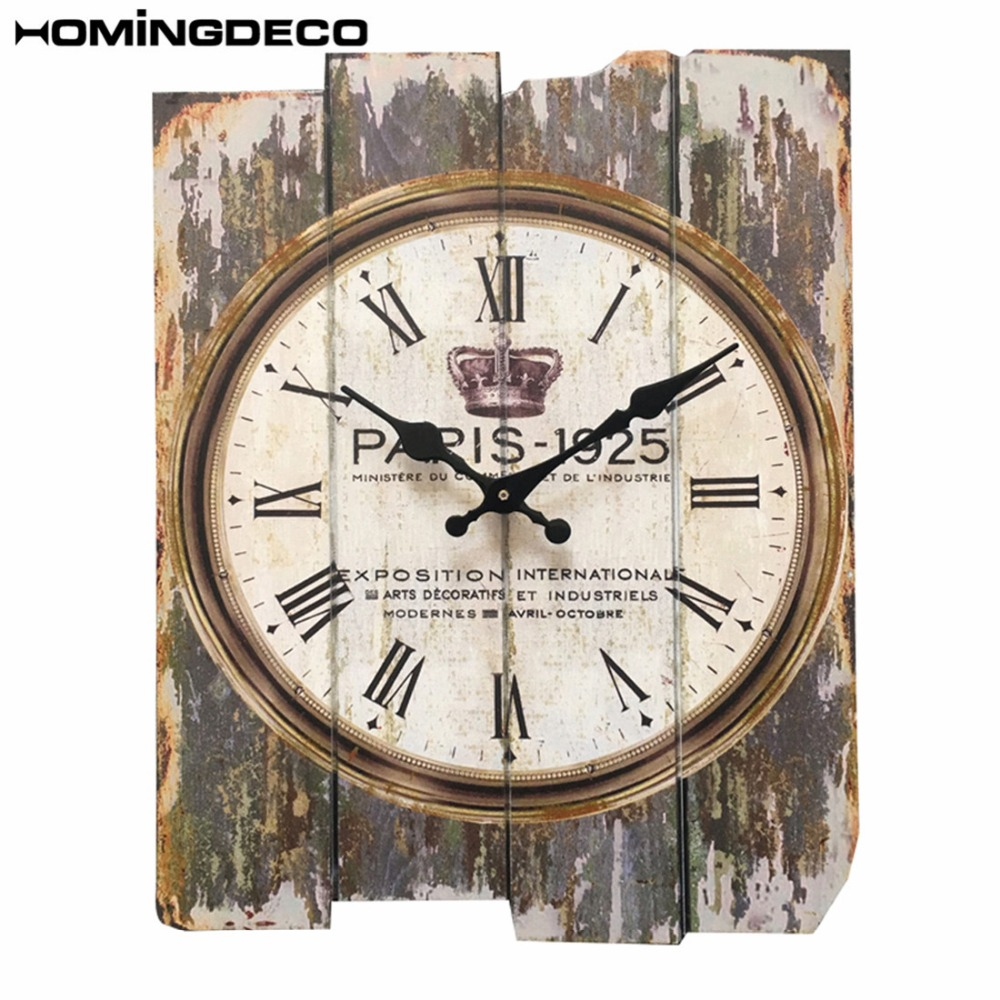 Homingdeco 30*40cm England Wall Clock Wood Vintage Retro Style Square Mute Wall Hanging Clocks Watch Home Decor 2018