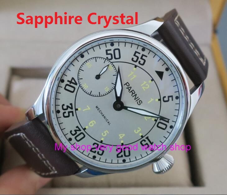Sapphire Crystal 2017 new fashion 44mm PARNIS Asian 6497 3600 Mechanical Hand Wind movement font b