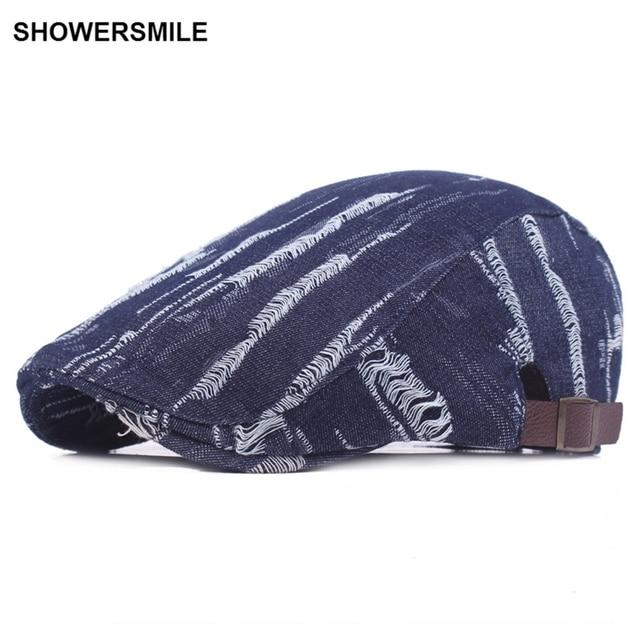 SHOWERSMILE marca Denim Ivy gorras para hombres y mujeres Espana vaqueros  gorra plana boinas primavera otoño 158ffa40cf6