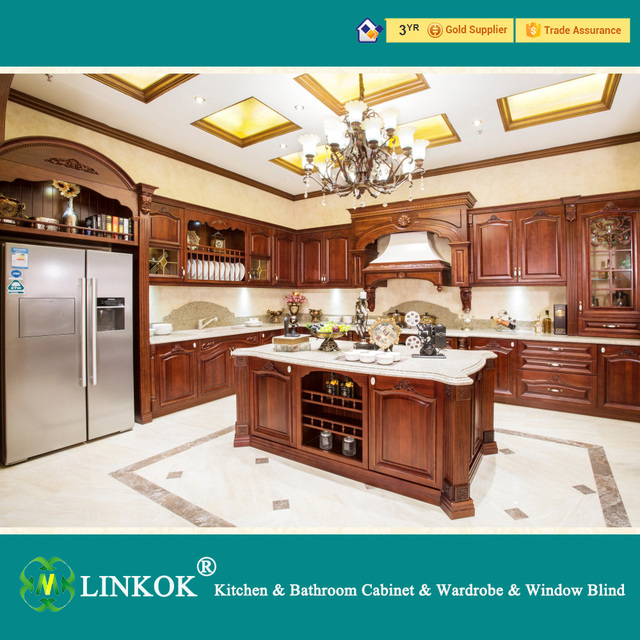 Linkok Furniture factory directly modern design with solid wood colors  kitchen cabinet