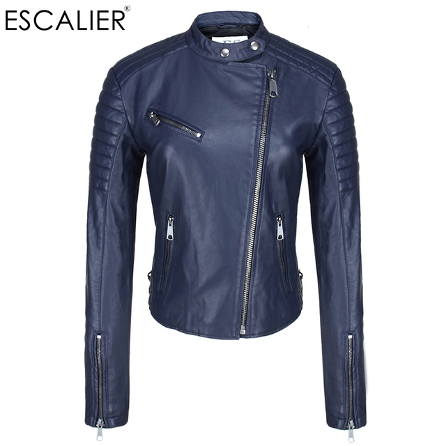 1a4eb9bd614e1 2017 Escalier Blue Motorcycle Women Leather Jackets Soft Pu Faux Leather  Coats Slim Short Design Thick O-Neck Zippers Jackets