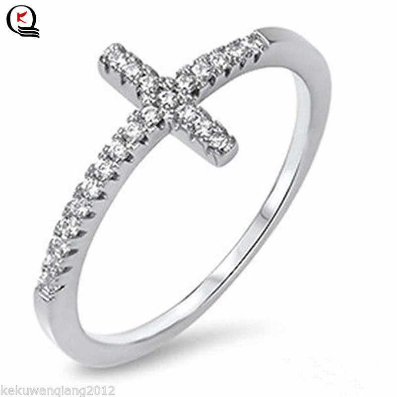 Exquisite Silver Plated Ring for Women Eternity Christian Cross Ring New Fashion Party Gifts Jewelry