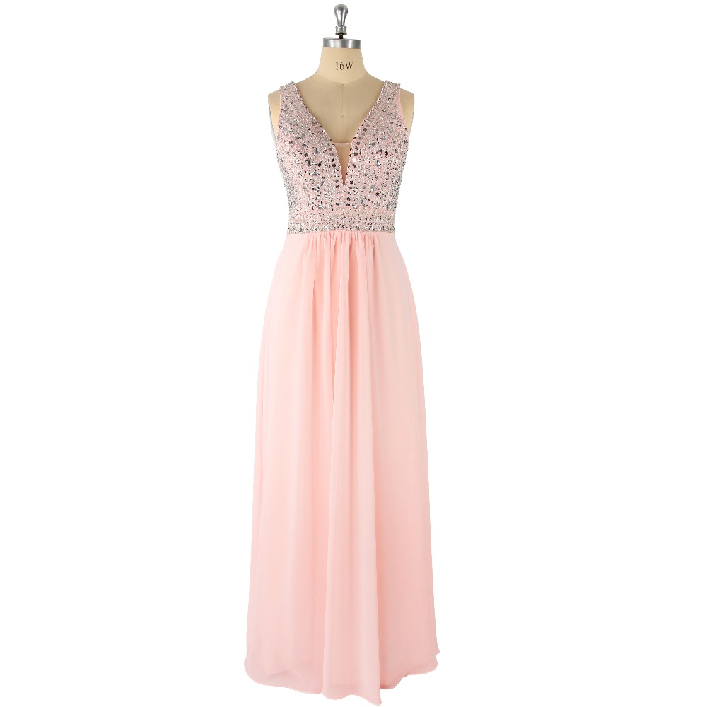 2017 Pink Sexy Scalloped Neck Natural Waist Sleeveless Beading A-Line Floor-Length Satin   Prom     Dress