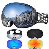 Gafas de esquí gafas Anti-niebla monopatín Snowboard Snowmobile esquí Googles UV400 gafas de Snowboard Skateboard máscara gafas
