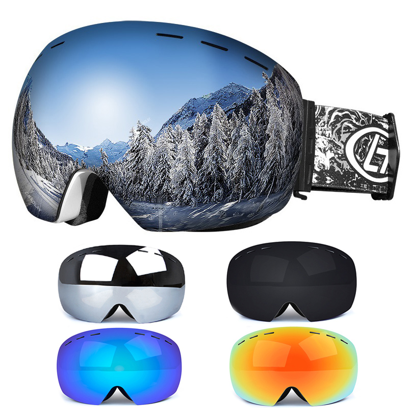 Men Women Winter Snow Sports Ski Goggles Snowboard Goggles With Anti-Fog Uv 400 Protections Double Lens Skating Mask Glasses