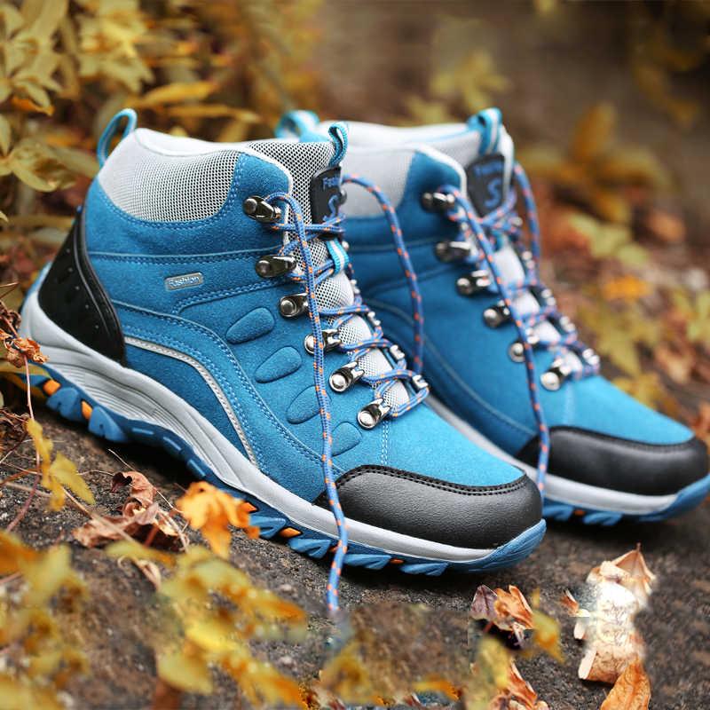 83304abe21c Couple Hiking Shoes Man Women Waterproof Hiking Boots Warm High Top  Mountain Climbing Camping Shoes Trekking Hunting Footwear