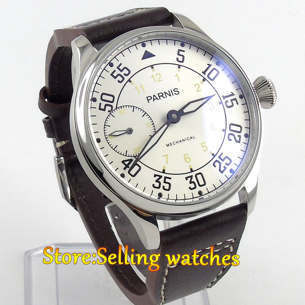 44mm parnis White Dial Yellow Number 3600 hand winding 6497 mechanical mens watch цена и фото