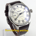 44mm parnis White Dial Yellow Number 3600 hand winding 6497 mechanical mens watch