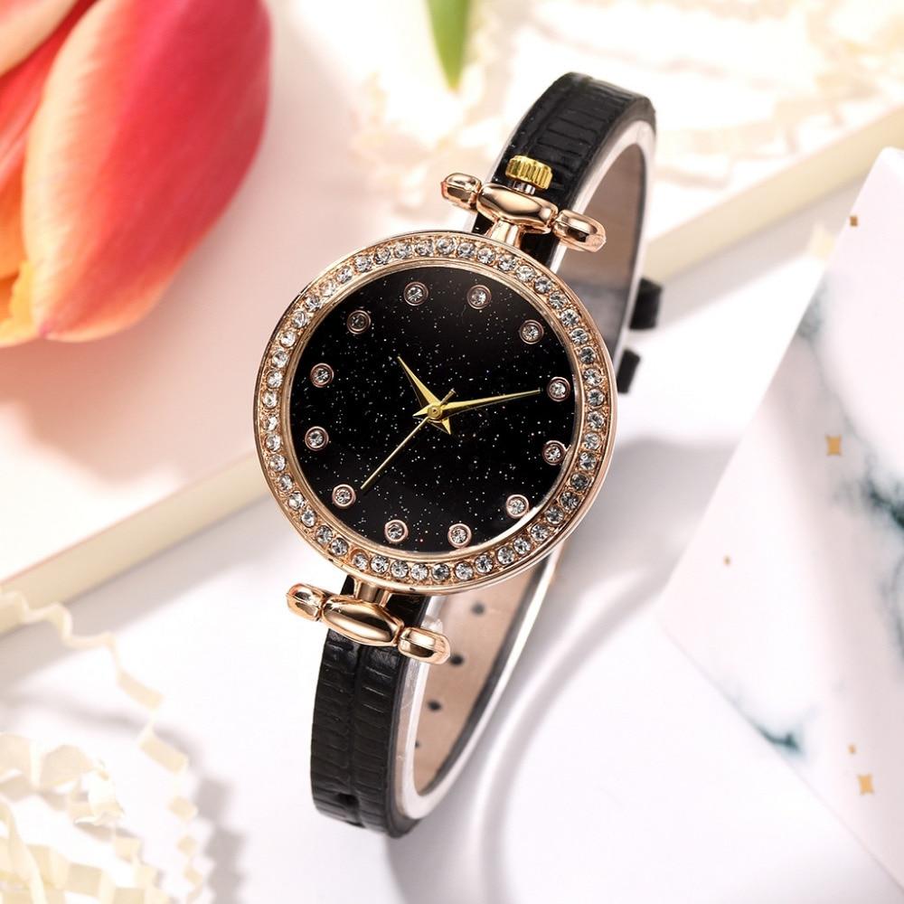 Disu Luxury Brand Relogio Feminino Diamond Bracelet Starry Sky Dial Women Quartz Wrist Watch Analog Ladies Watches Clock New