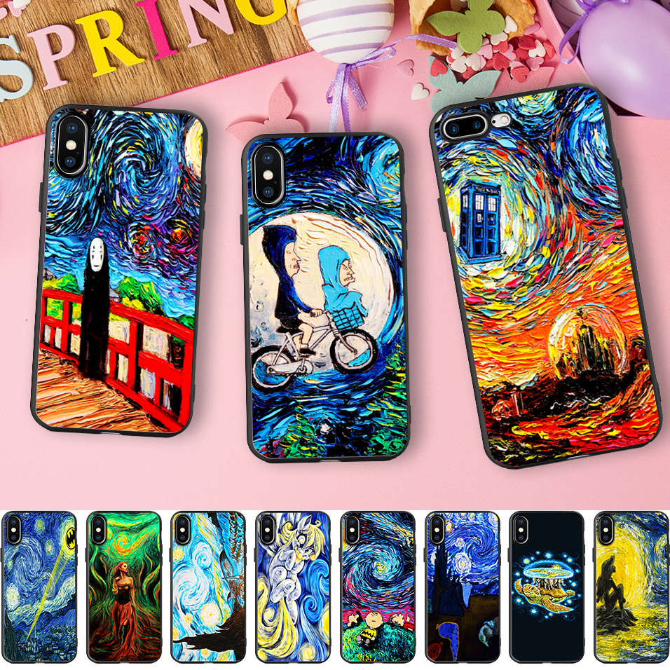 Minason Funny Van Gogh Art Oil Painting Soft Silicone Phone Case for iPhone X 5 S 5S XR XS Max 6 6S 7 8 Plus Cover Capinhas