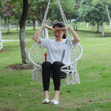 Hanging Cottton Rope Hammock Chair Swing Set Hand Knitted Patio Swing Seat Lazy Rocker Outdoor Home Garden Furnitures(China)