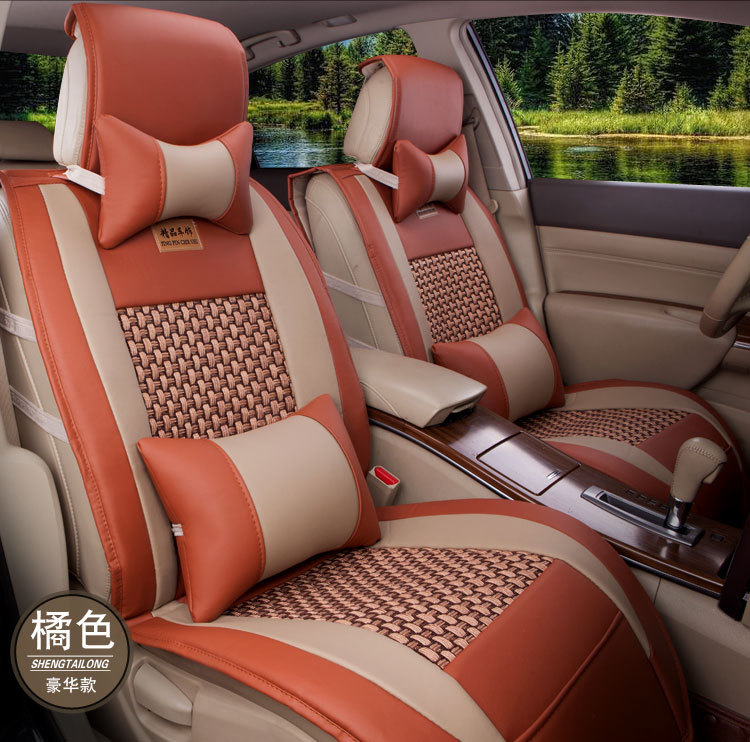 BABAAI coffee/orange/beige/black ventilation leather car seat cover front and rear complete for universal seat covers car rear trunk security shield cargo cover for volkswagen vw tiguan 2016 2017 2018 high qualit black beige auto accessories