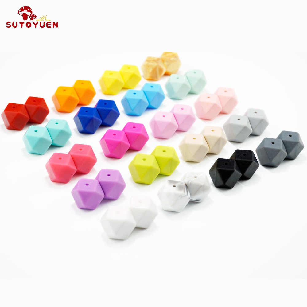 20szt 17mm BPA Free Hexagon Silicone Beads for Teether Silikonowy - Opieka nad dzieckiem - Zdjęcie 1