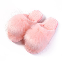 RASS PLE Fur Slippers Soft Plush Ball Room fluffy Slippers 2018 Winter Warm Indoor Slippers Home basic slippers Women Shoes