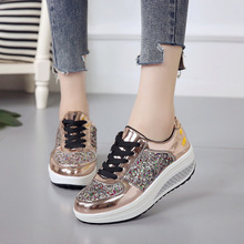 Platform Creepers Bling Glitter Shoes Woman Lace-Up Casual Loafers Fashion Women Flats Shoes Size 35-41 XWC1429