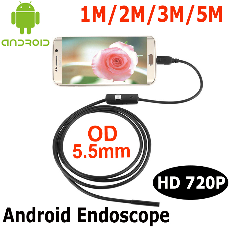 HD Android OTG USB Endoscope Camera 5.5mm Len 1M/2M/3M/5M  Flexible Snake USB Pipe Inspection Android Phone USB Borescope Camera eyoyo nts200 endoscope inspection camera with 3 5 inch lcd monitor 8 2mm diameter 2 meters tube borescope zoom rotate flip