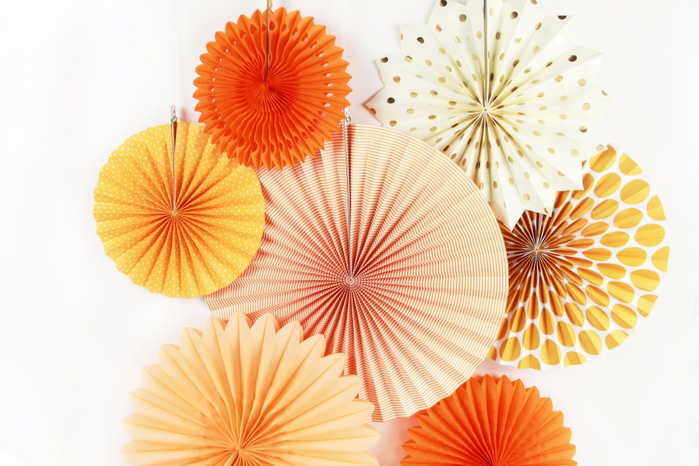 New Orange Set Paper Crafts Home Hanging Decoration Party Birthday Wedding Baby Shower Sunshine Bright Color Paper Fan 3