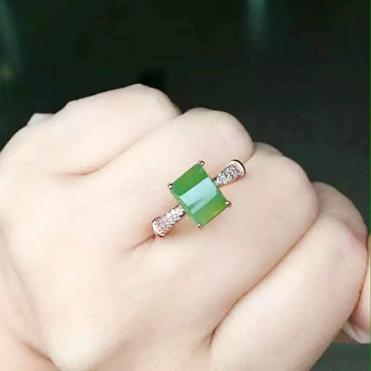 KJJEAXCMYปรับเครื่องประดับFineเงินแท้925แจสเปอร์ผู้หญิงแหวนหยก