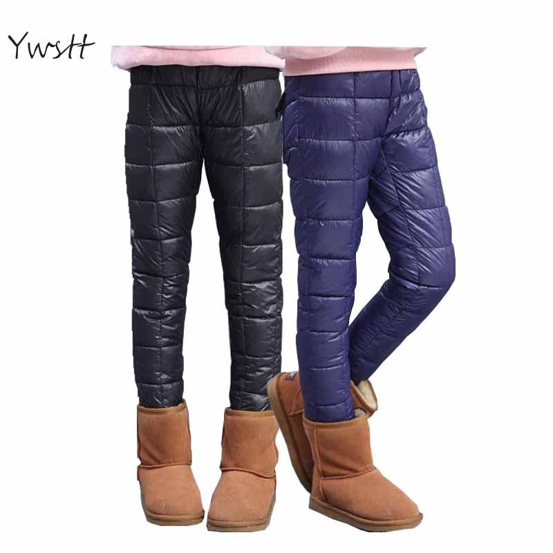 Ywstt Winter Kids Waterproof Trousers Girls Leggings Children Duck Down Warm Boot Pants Sweatpants Girls Warm Long Leggings