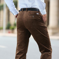 New Fashion Winter Pants Men Thick Trousers Mid Waist Loose Trousers Elastic Corduroy Pants Long Straight