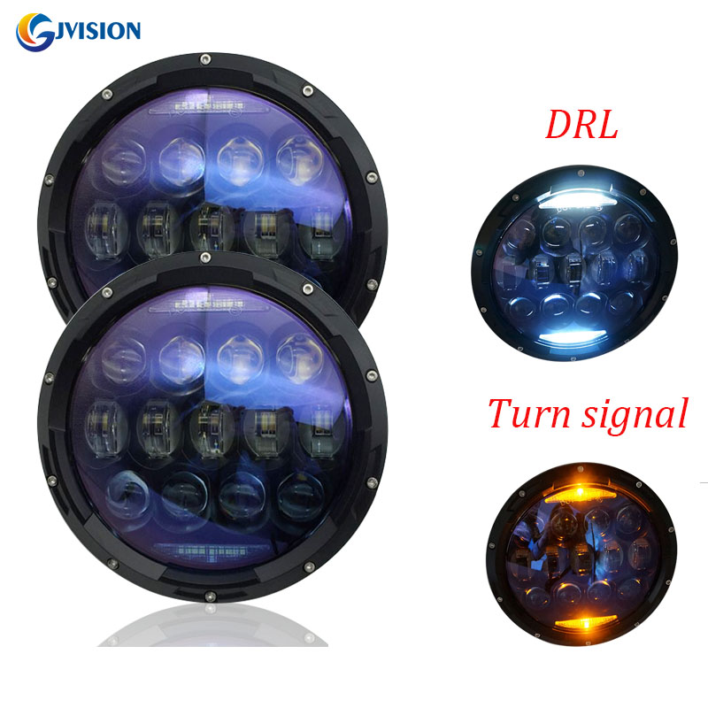 For Jeep Wrangler JK Accessories 7 inch Round High Power 130W LED Headlight Daytime Running lights amber turn signal for Offroad