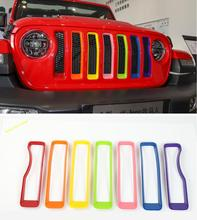 Lapetus Front Face Mesh Grille Grill Ring Molding Garnish Cover Trim 7 Pcs / Colors Fit For Jeep Wrangler JL 2018 2019 ABS
