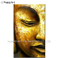 Handmade Modern Golden Yellow Buddha Half Face Oil Painting On Canvas Modern Religious Pictures For Room Decor Wall Paintings