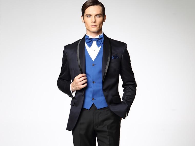 New Navy Blue Jacket Black Pants Groom Tuxedos Best Man Shawl ...