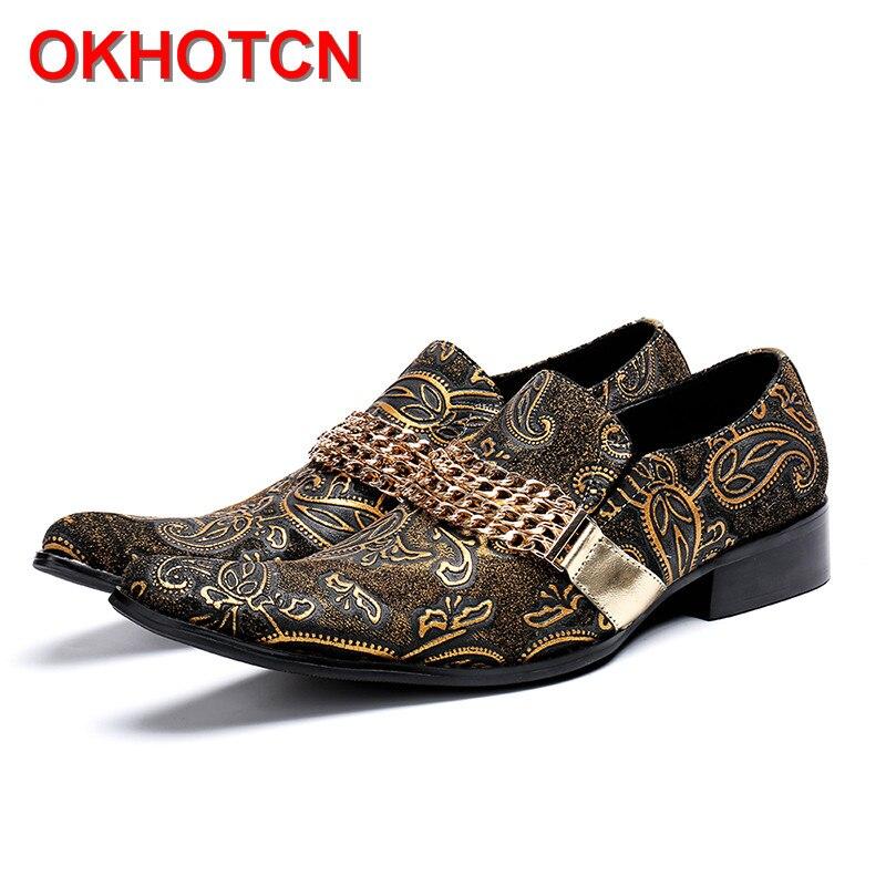 Véritable cuir italien hommes chaussures imprimer hommes or robe chaussures avec chaînes bout carré hommes chaussures de fête sans lacet grande taille chaussure mâle