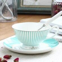 Biritish кофе набор чашка и блюдце и ложка костяного фарфора цветы шаблон чашки для Великобритании красный чай послеобеденный чай кофе 200 мл