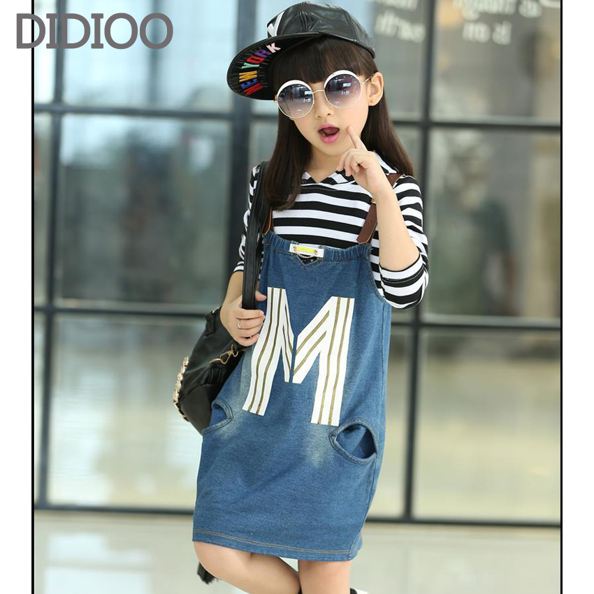 Girls Clothing Sets Cotton Casual Big Kids Clothes For Girls Full Sleeve Striped T Shirt & Denim Skirt 2Pcs Baby Clothes 4-14 Y