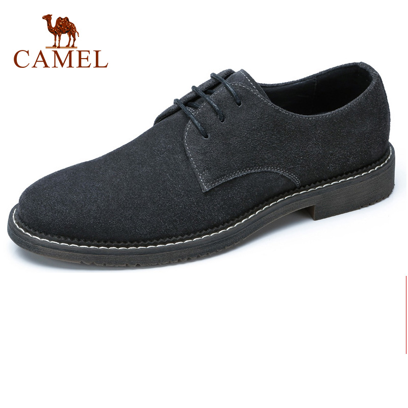 CAMEL Autumn Genuine Leather Men's Shoes Lace-up Man England Trend Scrub Cowhide Male Shoes Male Flats Footwear