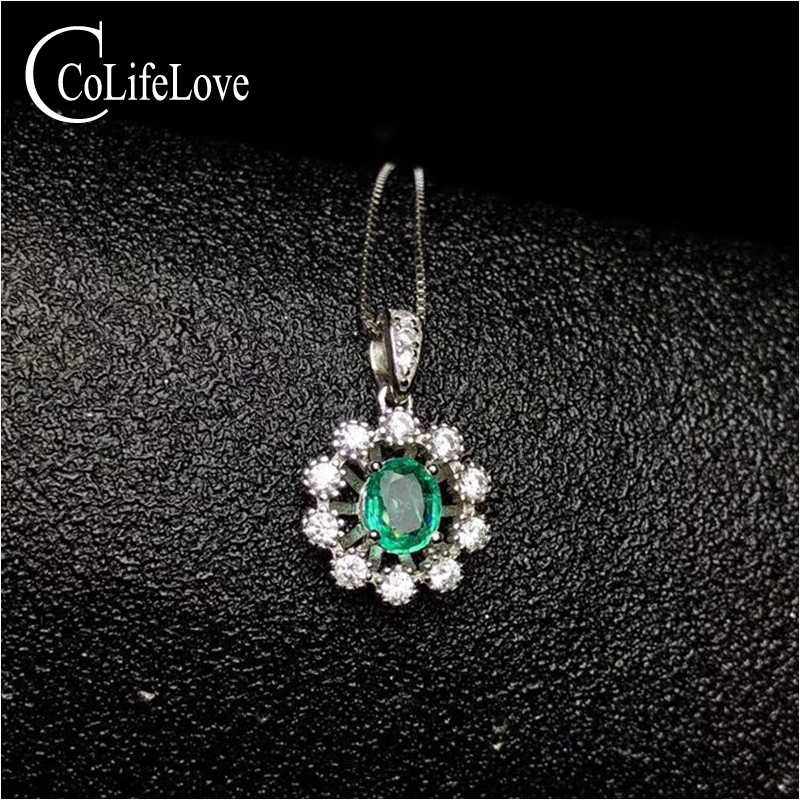 Fashion Emerald Pendant for Young Girl 5 mm * 6 mm Real Natural Emerald Necklace Pendant Solid 925 Silver Emerald Jewelry fashion silver wing pendant with emerald 17 pcs natural emerald pendant for party solid 925 silver emerald jewelry for woman