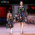 Natal vestido de Impressão Correspondência Da Família Mãe Filha Roupas Vestidos Outono Manga Longa olhada Família 2017 mãe & kids SD7066