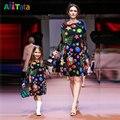 Navidad vestido Estampado Trajes A Juego Vestidos de Otoño de Manga Larga de la Familia de Madre E Hija Familia look 2017 madre y niños SD7066