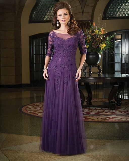 Mother Of The Bride Dress 2016 Pant Suits Clic Half Sleeves Dark Purple Groom Lace