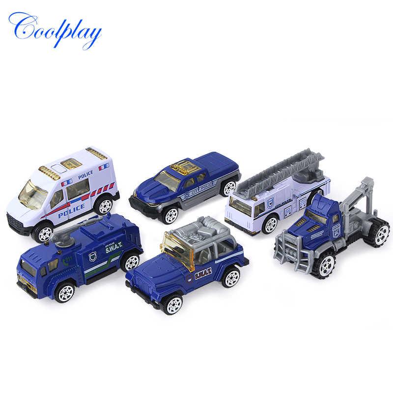 6 шт. 1: 64 Масштаб Мини скользящий сплав автомобиль грузовик модель детских игрушек автомобилей пожарный двигатель полиция бетоновоз модель игрушки для детей}