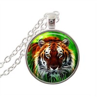 Tiger Necklace Tiger Pendant Tiger Charm Jewelry Black And Silver