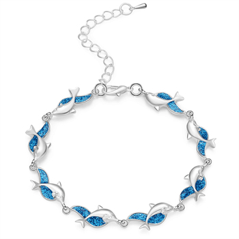 Charm Summer Dolphin Turtle Blue Opal Silver Color Hand Chain Beach Jewelry Bracelet
