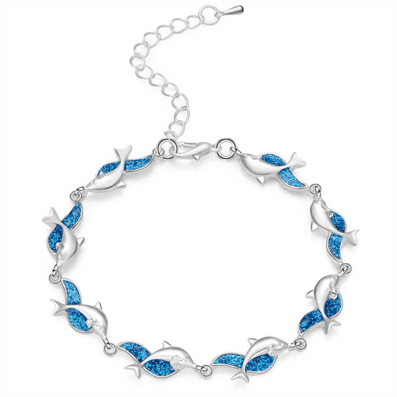 Шарм Летний Дельфин браслет с черепахами синий опал серебряный цвет ручной цепи пляж женский ювелирный браслет Bijoux